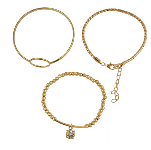 B-0679   Women's Fashion Jewelry Gold Plated AAA Shiny Zircon Beads Adjustable Stretch Bracelet 3 Pcs/Set