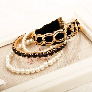 B-0680  Korea Fashion 4PC/set gold Plated Leather Resin Beads Pearls Adjustable Bracelet set