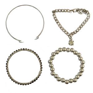 B-0678  Adjustable Bracelet Set Silver Plated AAA Zircon Black Square Beads Stretch Bracelets 4 Pcs/Set Wedding Jewelry for Bridal
