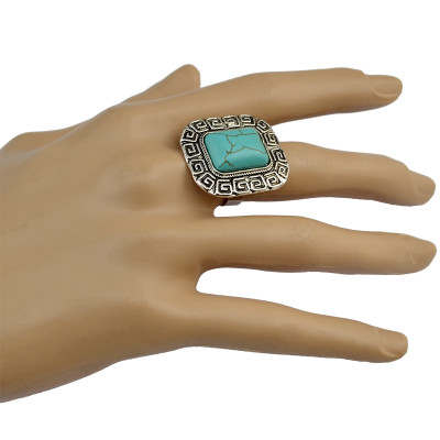 R-1337  Bohemian Vintage Silver Plated Turquoise Beads  Rings For Women Jewelry