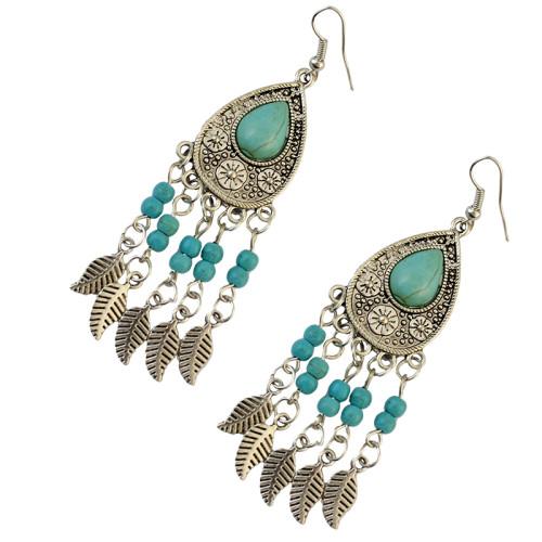 E-3736  Bohemian 2 styles owl shape leaf shape silver plated natural turquoise pendant hook earrings for women jewelry