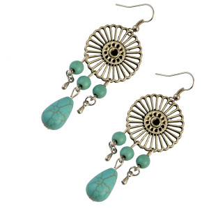 E-3735  2 styles,wheel shape  Baseball bat shape silver plated natural turquoise pendant hook earrings for women jewelry