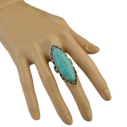 R-1340    Bohemian Vintage Classic Style Silver Plated Green Turquoise Finger Jewelry Rings for Women