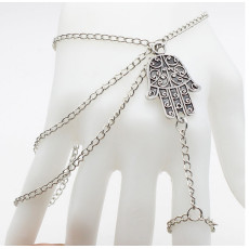 B-0675  Fashion multilayer tassel alloy chain silver bracelet carved flower hand shape bracelets for women jewelry