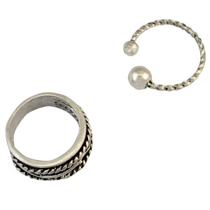 R-1341   2pcs/set Fashion Finger Ring Silver Plated Charm Rhinestone Knuckle Rings for Women Jewelry