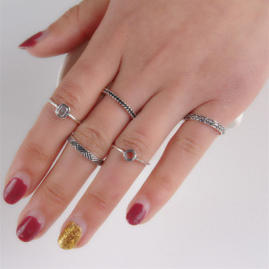 R-1342    5 Pcs/set Bohemian Style Vintage Silver/Gold Alloy  Nail Midi Rings Sets Women Jewelry