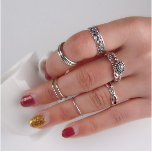 R-1343    10 Pcs/set Bohemian Style Vintage Silver/Bronze Alloy  Nail Midi Rings Sets Women Jewelry