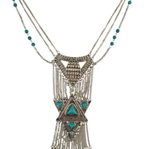 N-5780 Bohemian Retro Silver Plated Chains Turquoise Bead Long Tassel Irregular Geometry Rivet Pendant Necklace for Women