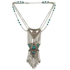 N-5780 Bohemian Retro Silver Plated Chains Turquoise Bead Long Tassel Irregular Geometry Rivet Pendant Necklace for Women