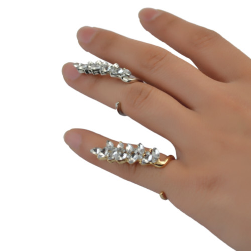 R-1347  Korea Punk Fashion Silver/Gold Clear Crystal Leaf Shape Ring for Women Jewelry