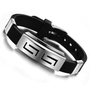 B-0685  Fashion Silver Alloy Black Leather Bracelet Adjustable Unisex Bracelets For Women Jewelry