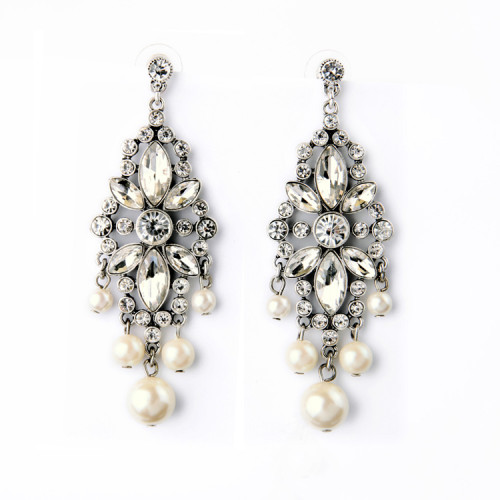E-3734  Fashion Trendy Women Italina Style Silver Plated crystal earring Simulated Pearl Drop Dangle Earrings