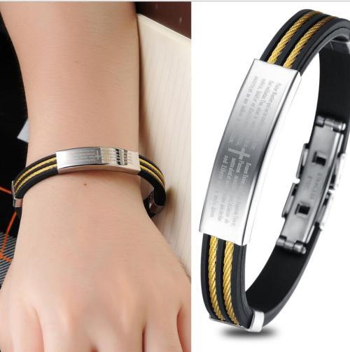 B-0686  Black Silicone Silver Stainless Steel Chain Wristband Bracelet fashion jewelry
