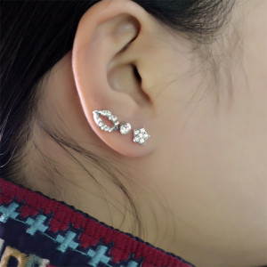 E-3745 Korea Style Fashion Silver Earring Flower Shape Stud Earrings For Women Girls Jewelry