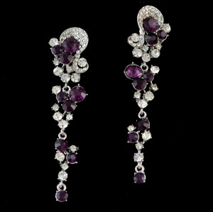 E-3693 New Fashion Silver Plated Black/Clear/Purple Rhinestone Crystal Flower Long Tassel Drop Earrings For Women Jewelry