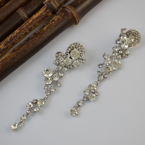 E-3693 New Fashion Silver Plated Black/Clear/Purple Rhinestone Crystal Flower Long Tassel Drop Earrings For Women Jewelry