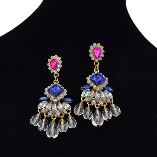 E-3743 Drop Sapphire Crystal Rhinestone Elegant Women Ear Stud Dangle Earrings