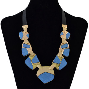 N-6146  Fashion Black Leather Chain Mosaic Screw Connection Blue Brown Pendant Necklace Gold Choker Bib Statement Necklace Women Jewelry