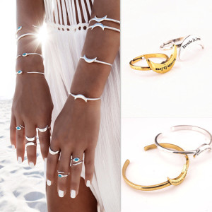 B-0690  R-1348  4 Pcs/set Gold Silver Snake And Moon Shape Adjustable Bangle Cuff Bracelets Rings Women Girl Jewelry