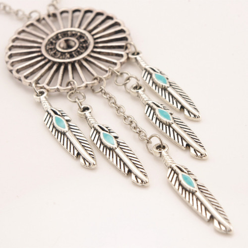 N-6150 2016 Newest Design Fashion Necklaces &Pendants 2 Styles Silver Plated Alloy Blue Turquoise Beads Chain Tassel Leave Tassel Round Circle Pendants Long Necklaces Females Jewelry