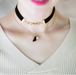 N-6148 Fashion gold plated leather chain drop pearl statement bib necklace