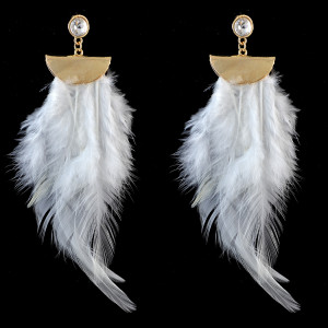 E-3741 Fshion colorful Feather gold chain light dangle earrings jewelry