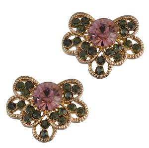 E-3739 Gold Plated Bloom Flower Rhinestone Stud Earring OL Style