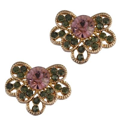 E-3739 Gold Plated Bloom Flower Rhinestone Stud Earring OL Style