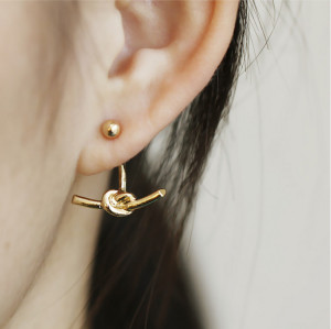 E-3750  New Fashion Unisex Punk Knotted Gold Plated Stud Earring