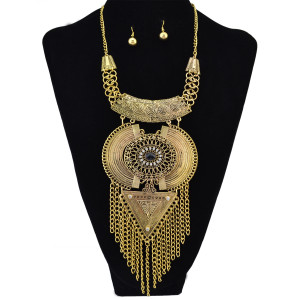 N-6156 1 Set Bohemian Gold Silver Carved Flower Alloy Geometry Crystal Rhinestone Resin Bead Pendant Necklaces Tassel Chain Necklace Earrings For Women Jewelry