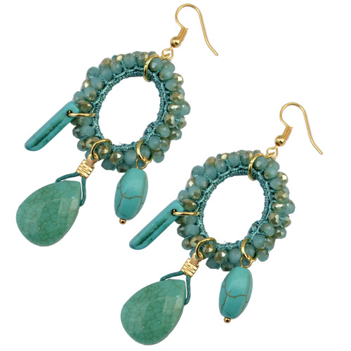 E-3748  European style fashion gold plated resin bead turquoise drop dangle earrings jewelry