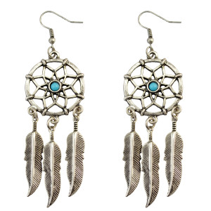 E-3753  fashion silver plated resin beads hollow leaf tassel dangle earring for women jewelry