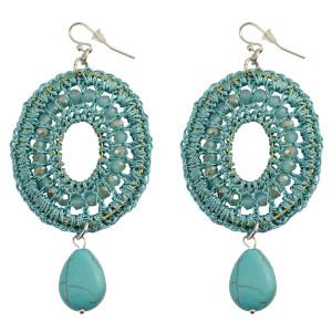 E-3770  Bohemian Fashion Resin Bead Turquoise Drop Dangle Earrings Jewelry
