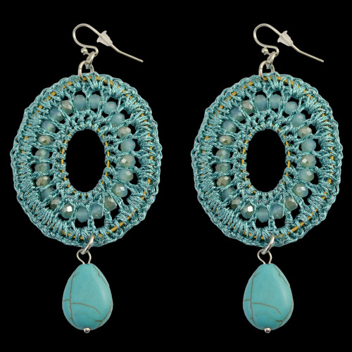 E-3770  Bohemian Fashion Resin Bead Turquoise Drop Dangle Earrings Jewelry