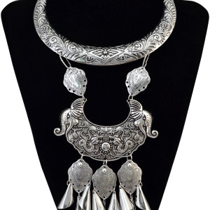 N-6167  4 types Bohemian Style silver plated Chinese classical elements pendant bib Statement necklace