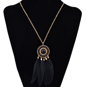 N-6161 Fashion Necklaces & Pendants Gold Metal Chain Feather Tassel Long Necklace Women Jewelry