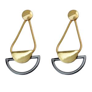 E-3754 Women Fashion Ear Jewelry Snake Chain Gold  Drop Dangle Gun Black Earring
