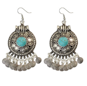 E-3755  Bohemian Vintage Silver Plated Turquoise Fish Hook Dangle Tassel Earrings Jewelry 2 Color