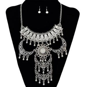 N-6164  Bohemian Silver Plated Tassel Pendant Turquoise Bib Choker Collars Necklace Earring Jewelry Set
