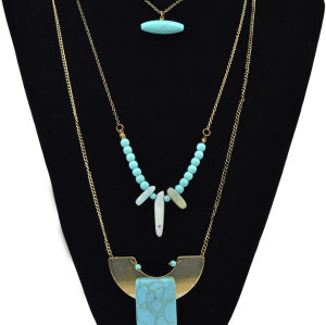 N-6160  Bohemian 3 Multilayers Turquoise Beads alloy  Pandant Necklaces