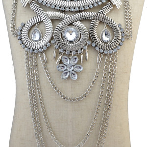 N-6162  Bohemian silver gold plated multilayer tassel necklaces & pendants rhinestone crystal carved flower choker necklace for women jewelry