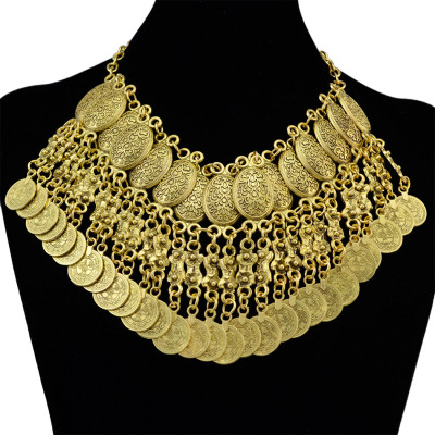 N-6170   ohemian Style Antique Silver Gold Alloy Fashion Chunky Necklaces Carved Flower Tassel Coins Pendant Bib Statement Necklace Women Jewelry