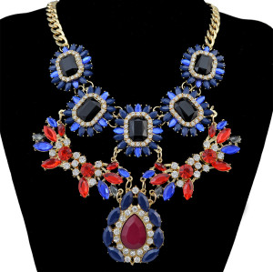 New Arrival  2 colors Flower Gold Plated  Alloy chains adjustable  crystal  resin rhinestone drop flower Statements necklace