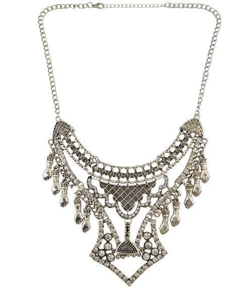 N-6172  Women's Fashion Silver Plated Tassels Full Rhinestone Beads Bell Pendant Necklace for Wedding Bridal