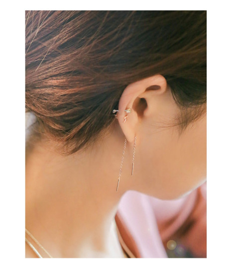 E-3758  2016 Beautifu and Fashionl New Brief Style  Jewelry Gold /silver Plated Long Earring for Bride Stud Earring