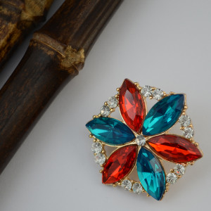P-0317 European Style Gold Alloy Fashion Brooch Charm Crystal Rhinestone Flower Pins Brooches For Women Jewelry
