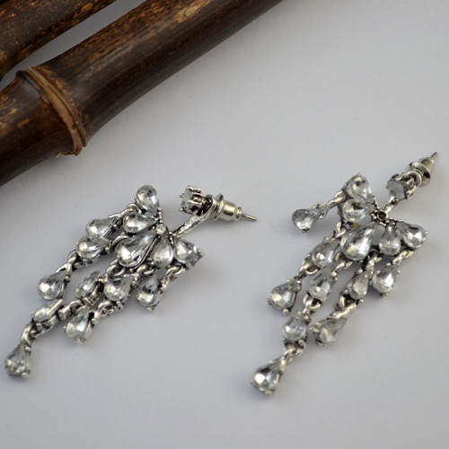 E-3760  Fashion silver drop crystal tassel fashion dangle earrings jewelry