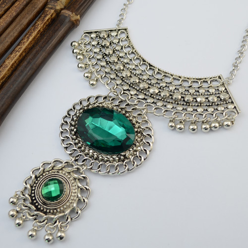 N-6183  New Arrival Silver Pplated Hollow out Turquoise Pendant Necklace&Earring Jewelry set