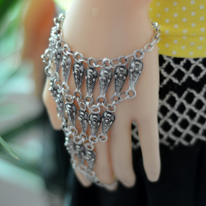 B-0697  Wholesale Fashion Bohemian style vintage   silver plated jewelry tribal bracelet with charm coin chain for women