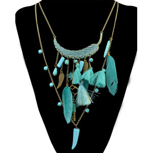 N-6179  Bohemian style bronze multi-layer long chain turquoise pendant necklace jewelry